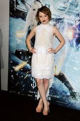 Emily Browning in a white Erdam dress.